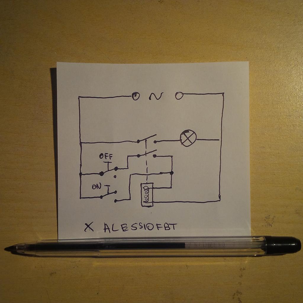 Schemi Elettrici Rele : Relè 12v a due tasti il primo chiude solo il circuito baronerosso
