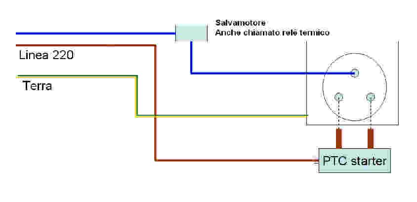 Collegamenti elettrici compressore frigorifero for Teleruttore schema