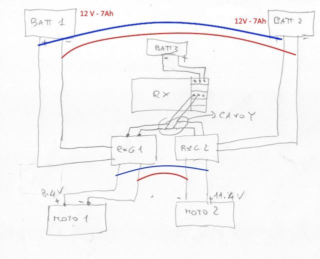 schema elettrico per motorizzazione barca  2batterie